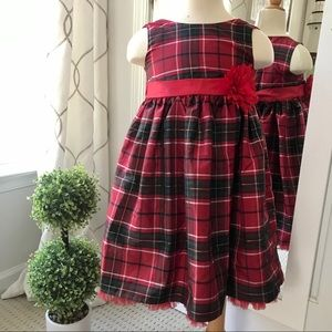 Girl's Red Plaid Holiday Party Dress size 5